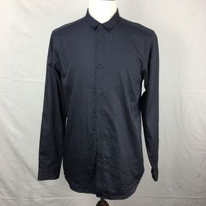 Ted Baker Navy Geo Print Sample Dress Shirt